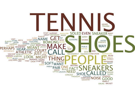 TENNIS SHOES Text Background Word Cloud Concept