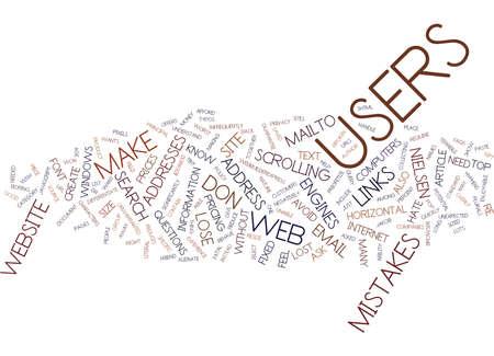 TIEN FATALE FOUTEN DIE WEBSITES STINKEN Tekst Achtergrond Word Cloud Concept Stock Illustratie