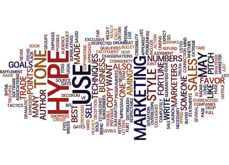 THE ANATOMY OF HYPE Text Background Word Cloud Concept
