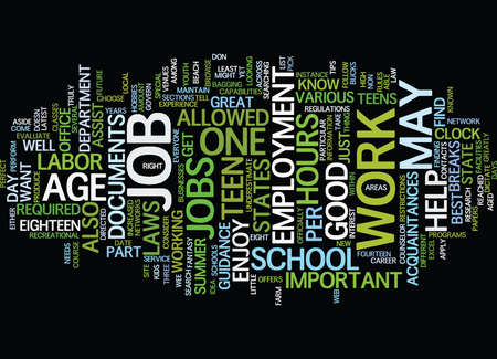 TEEN JOBS WORK AGE Text Background Word Cloud Concept Illustration