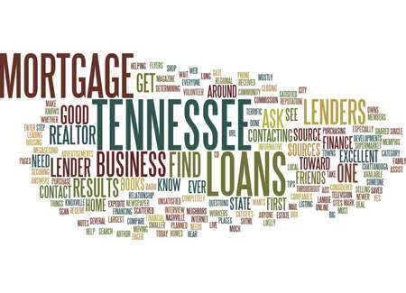 TENNESSEE MORTGAGE LANSEN Tekst Achtergrond Word Cloud Concept