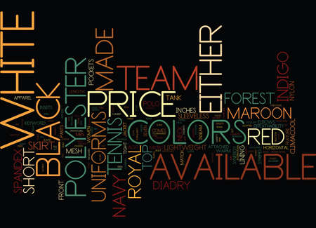 TENNIS TEAM UNIFORMS Text Background Word Cloud Concept