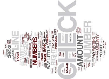 THE ANATOMY OF A CHECK Text Background Word Cloud Concept Illustration