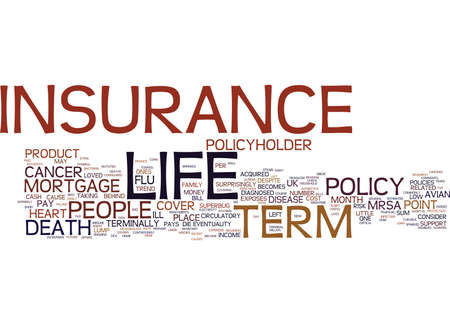 TERM LIFE INSURANCE WITH RETURN OF PREMIUM Text Background Word Cloud Concept