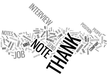 THANK YOU NOTES AN INTEGRAL PART OF YOUR CAREER DESIGN Text Background Word Cloud Concept