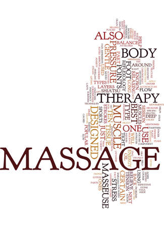 TEN OF THE BEST TYPES OF MASSAGE THERAPY Text Background Word Cloud Concept