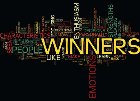 THE CHARACTERISTICS OF A WINNER Text Background Word Cloud Concept