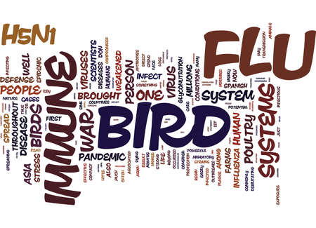 THE BIRD FLU AND THE IMMUNE SYSTEM DON T LEAVE HOME WITHOUT IT Text Background Word Cloud Concept