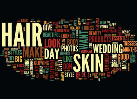 THE BEAUTIFUL BRIDE TO BE BEAUTY TIPS FOR THE BIG DAY Text Background Word Cloud Concept