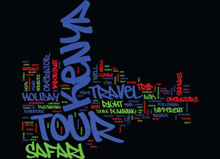 THE BEST KENYA TOUR RIGHT TRAVEL Text Background Word Cloud Concept