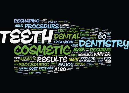 THE BENEFITS OF COSMETIC DENTISTRY Text Background Word Cloud Concept 向量圖像