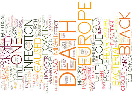 THE BLACK DEATH AND HOW IT CHANGED EUROPE Text Background Word Cloud Concept 向量圖像
