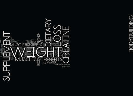 THE BENEFITS OF A WEIGHT LOSS DIETARY SUPPLEMENT Text Background Word Cloud Concept Ilustração