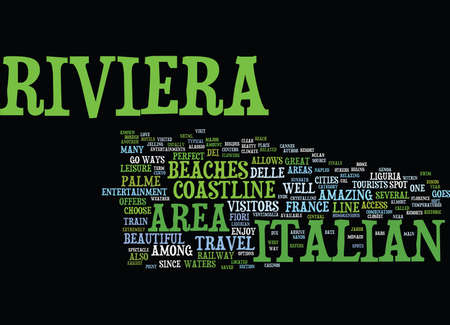 THE BEAUTIFUL ITALIAN RIVIERA Text Background Word Cloud Concept