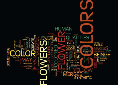 THE COLORS OF FLOWERS Text Background Word Cloud Concept Illusztráció