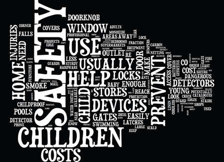 cordless phone: THE CHILD SAFETY DEVICES YOU NEED IN YOUR HOME Text Background Word Cloud Concept Illustration