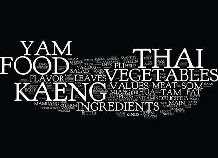 THE CHARM OF THAI FOOD Text Background Word Cloud Concept Illustration