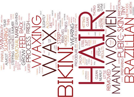 THE BRAZILLIAN BIKINI WAX METHOD Text Background word cloud concept