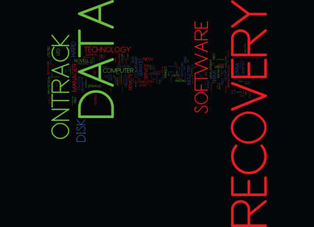 THE BRIEF HISTORY OF ONTRACK DATA RECOVERY Text Background Word Cloud Concept Çizim