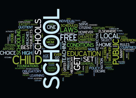 THE CHEAPEST AND SAFEST SCHOOL EVER Text Background Word Cloud Concept Illustration