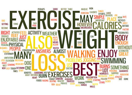 THE BEST EXERCISE FOR WEIGHT LOSS Text Background Word Cloud Concept