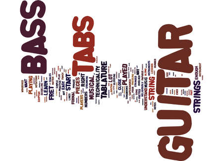 observation: THE ART BEHIND BASS GUITAR TABS Text Background Word Cloud Concept
