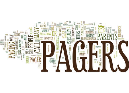 THE BENEFITS OF PAGERS Text Background Word Cloud Concept