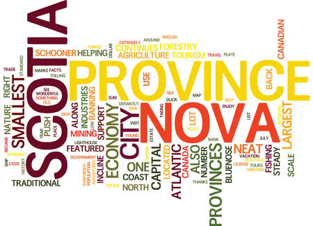 dime: THE BEAUTIFUL NOVA SCOTIA Text Background Word Cloud Concept Illustration