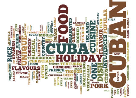 THE BEST FOOD CUBA HAS TO OFFER Text Background Word Cloud Concept Illustration