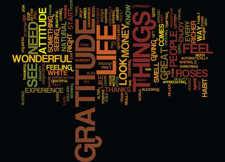 THE ATTITUDE OF GRATITUDE Text Background Word Cloud Concept Illustration