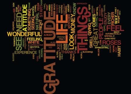 THE ATTITUDE OF GRATITUDE Text Background Word Cloud Concept Ilustração