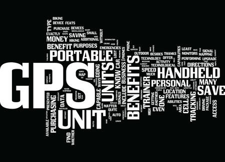 THE BENEFITS OF GPS UNITS Text Background Word Cloud Concept Illustration