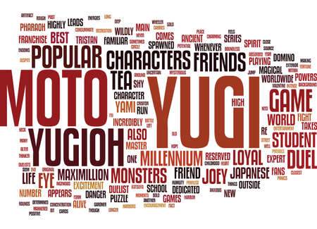 THE CHARACTERS OF YUGIOH Text Background Word Cloud Concept