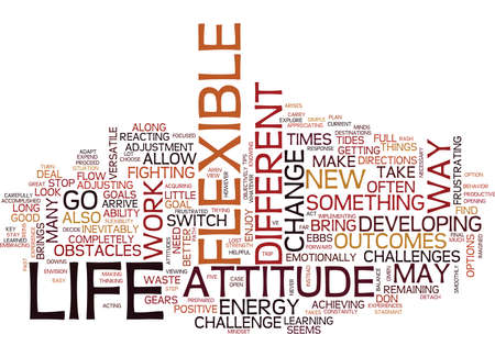 THE BENEFITS OF A FLEXIBLE ATTITUDE Text Background Word Cloud Concept