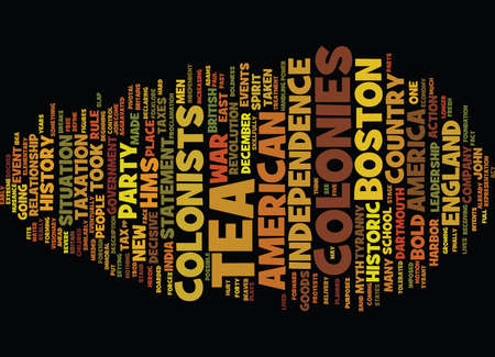 THE BOSTON TEA PARTY Text Background Word Cloud Concept