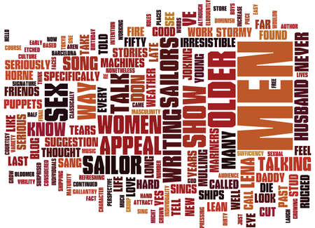 THE APPEAL OF OLDER MEN Text Background Word Cloud Concept