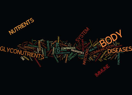 tumors: THE BENEFITS OF GLYCONUTRIENTS Text Background Word Cloud Concept