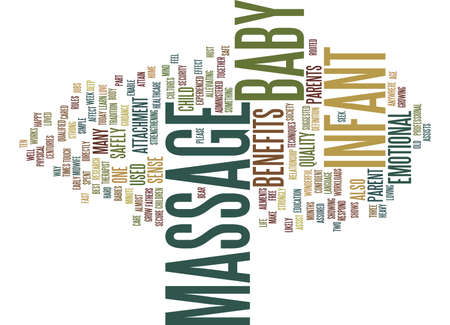 THE BENEFITS OF BABY MASSAGE Text Background Word Cloud Concept