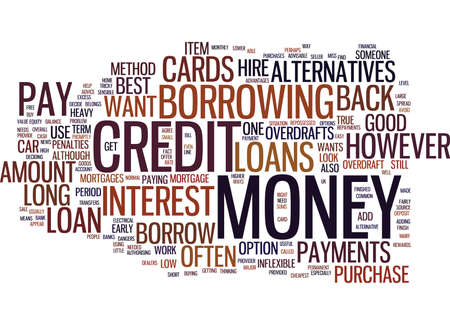 borrowing money: THE BEST LOAN ALTERNATIVES Text Background Word Cloud Concept