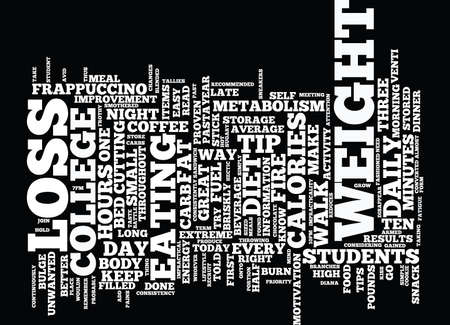 THE COLLEGE STUDENT S GUIDE FOR EASY WEIGHT LOSS Text Background Word Cloud Concept Illustration