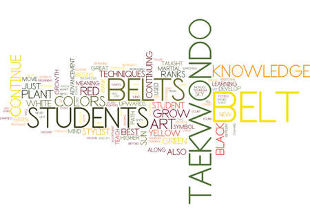THE BELT COLORS OF TAE KWON DO Text Background Word Cloud Concept