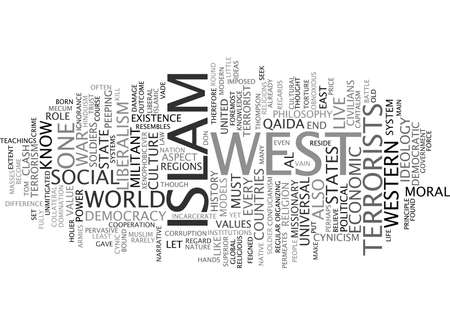 THE CLASH OF ISLAM AND LIBERALISM Text Background Word Cloud Concept