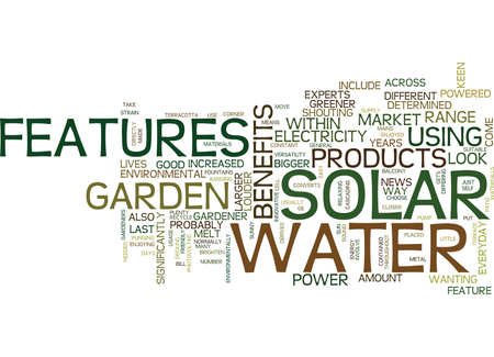 THE BENEFITS OF SOLAR WATER FEATURES Text Background Word Cloud Concept