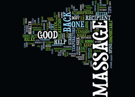 THE BACK MASSAGE HOW SWEET IT IS Text Background Word Cloud Concept