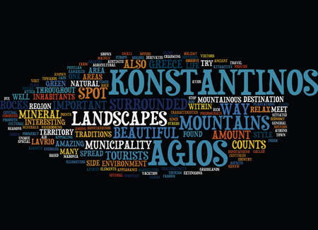 inhabitants: THE BEAUTIFUL AGIOS KONSTANTINOS Text Background Word Cloud Concept