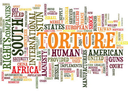 THE BUSINESS OF TORTURE Text Background Word Cloud Concept