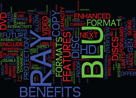 THE BENEFITS OF THE BLU RAY DISC Text Background Word Cloud Concept