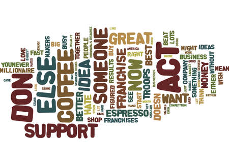 THE BEST ESPRESSO SERVED FROM YOUR FRANCHISE Text Background Word Cloud Concept