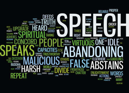 deeds: THE BUDDHA S GUIDELINES TO PROPER SPEECH Text Background Word Cloud Concept
