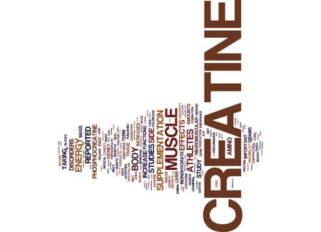THE BENEFITS AND SIDE EFFECTS OF CREATINE Text Background Word Cloud Concept